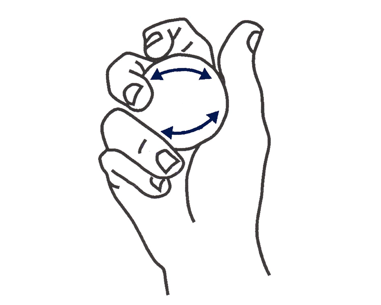 пятью пальцами вращать шар
