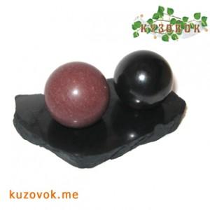 crimson quartzite sphere, shungit
